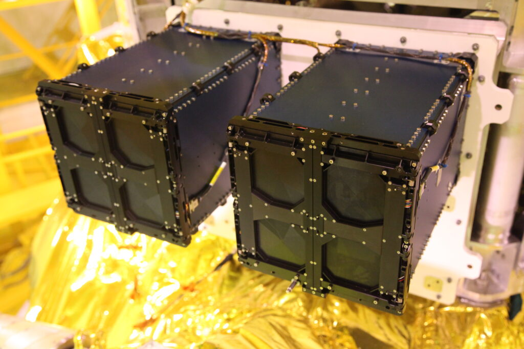 QuadPack cubesat deployers with the SAMSON satellites integrated.
